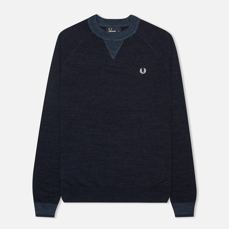 Fred Perry Budding Yarn Tipped Men's Sweater Vintage Navy Marl