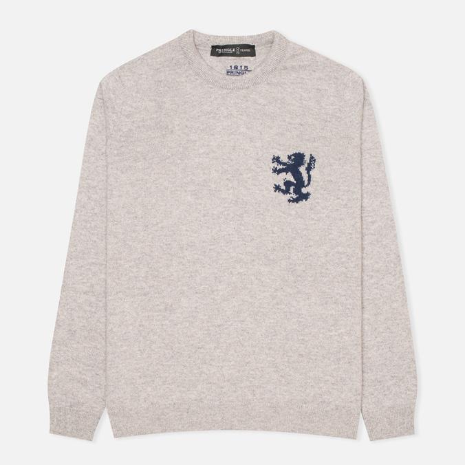 Pringle of Scotland Lion Intarsia Round Neck Men's Sweater Grey