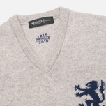 Pringle of Scotland Lion Intarsia V Neck Men's Sweater Grey photo- 1