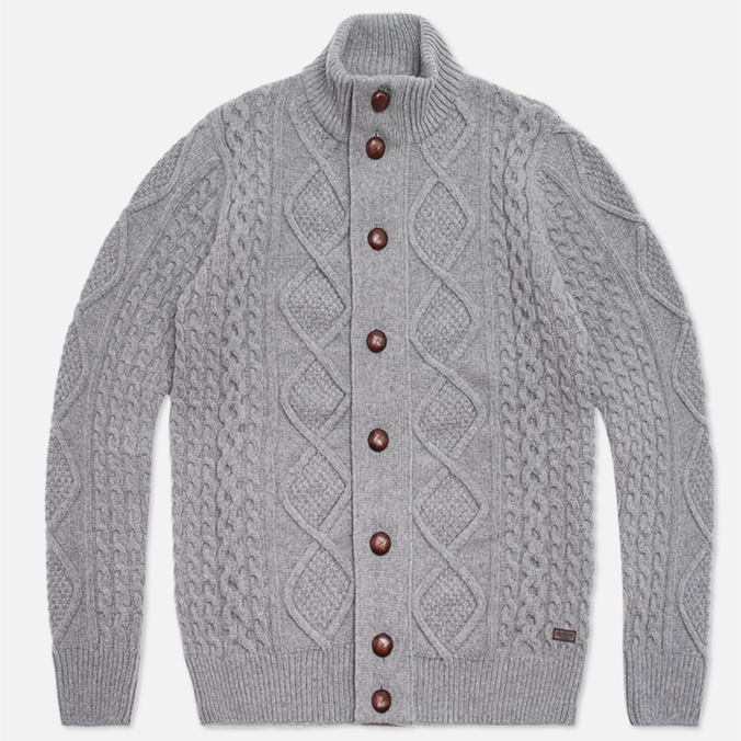 Мужской свитер Barbour Kirktown Cable Button Grey Marl