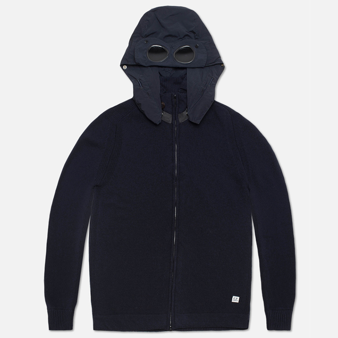 Мужской свитер C.P. Company Goggle Hooded Cardigan Navy