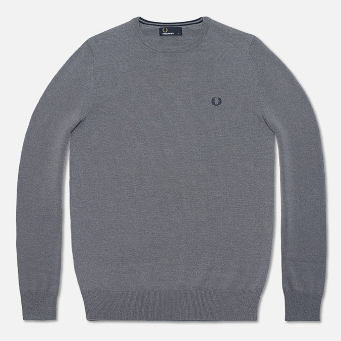 Fred Perry Classic Tipped Crewneck Sweater Steel Marl