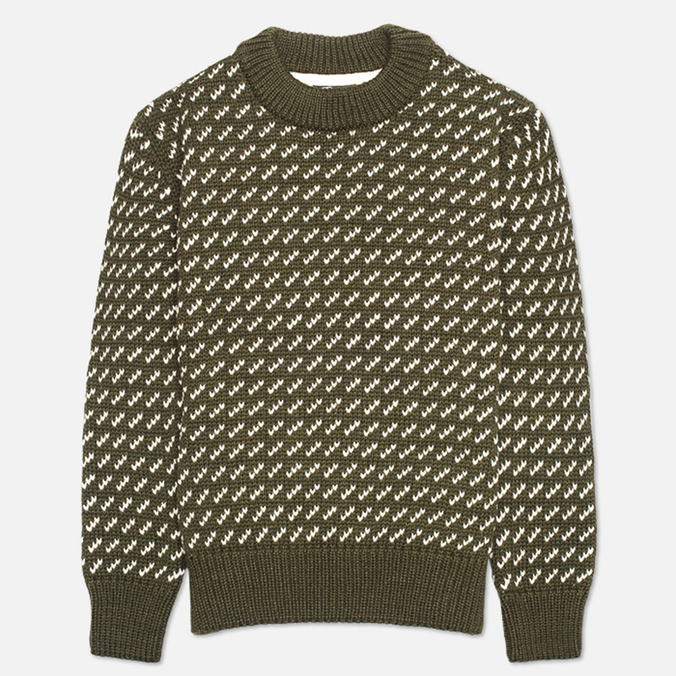 Gloverall Nordic Crew Knit Sweater Kale