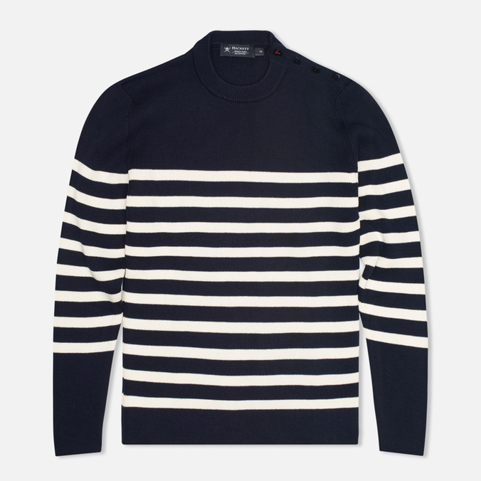 Мужской свитер Hackett Breton Stripe Crew Neck Navy/White