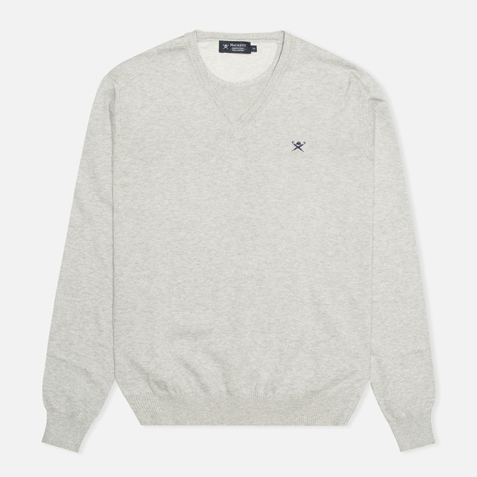 Мужской свитер Hackett Pima V Neck Logo Light Grey
