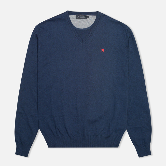 Мужской свитер Hackett Pima V Neck Logo Navy
