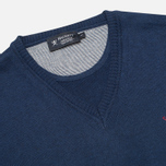 Мужской свитер Hackett Pima V Neck Logo Navy фото- 1