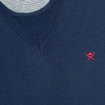 Мужской свитер Hackett Pima V Neck Logo Navy фото- 2