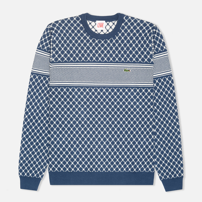 Мужской свитер Lacoste Live Herringbone Tennis Net Philippines Blue/Flour