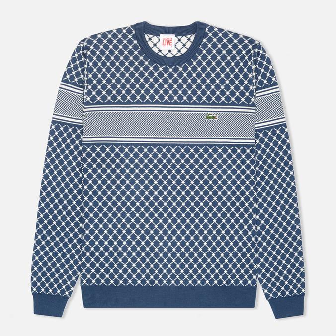 Lacoste Live Herringbone Tennis Net Sweater Philippines Blue/Flour