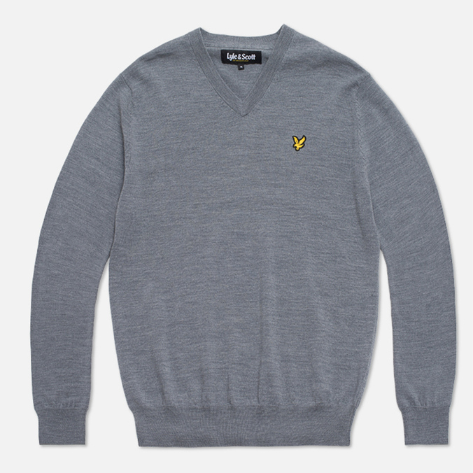 Lyle & Scott V-Neck Merino Sweater Mid Grey Marl