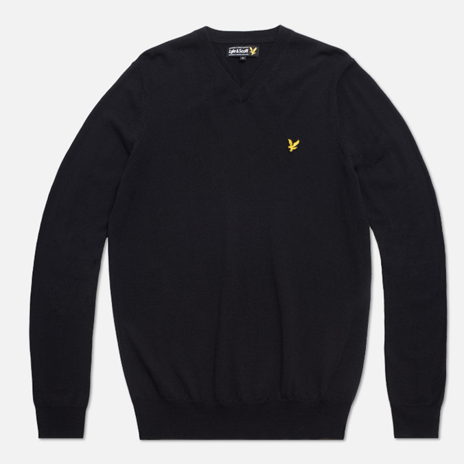 Мужской свитер Lyle & Scott V-Neck Merino True Black