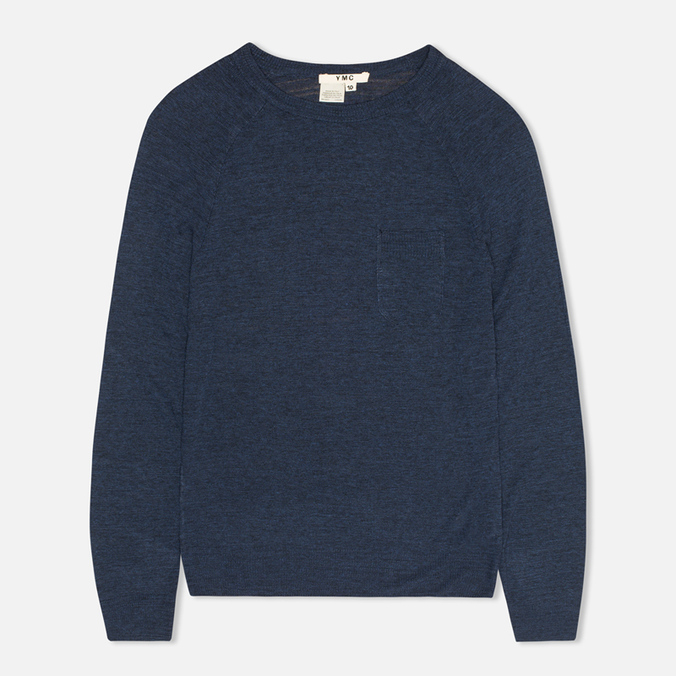 YMC Lightweight Crew Neck Women's Sweater Navy Mel