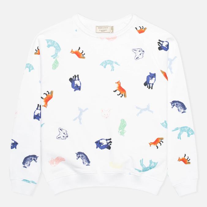 Maison Kitsune Crew Neck All Over Childish Women's Sweatshirt White