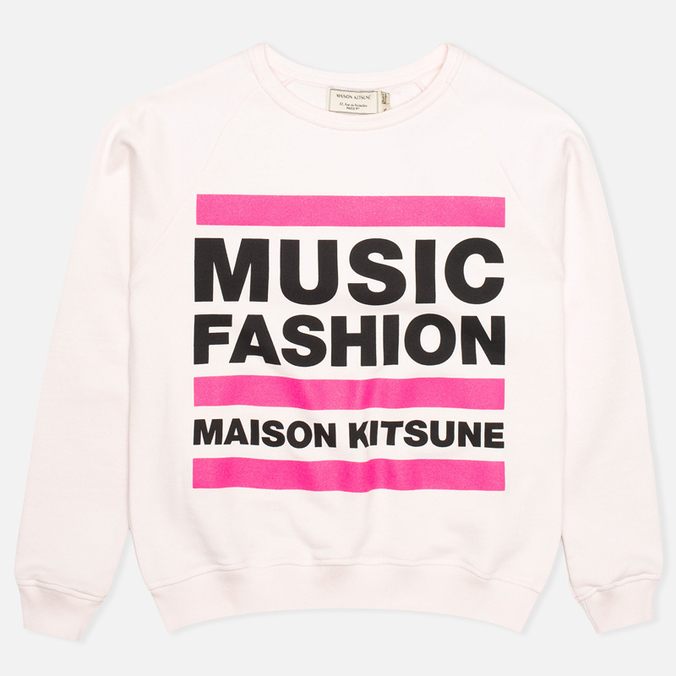 Maison Kitsune Crew Neck Print MFMK Women's Sweatshirt Light Pink