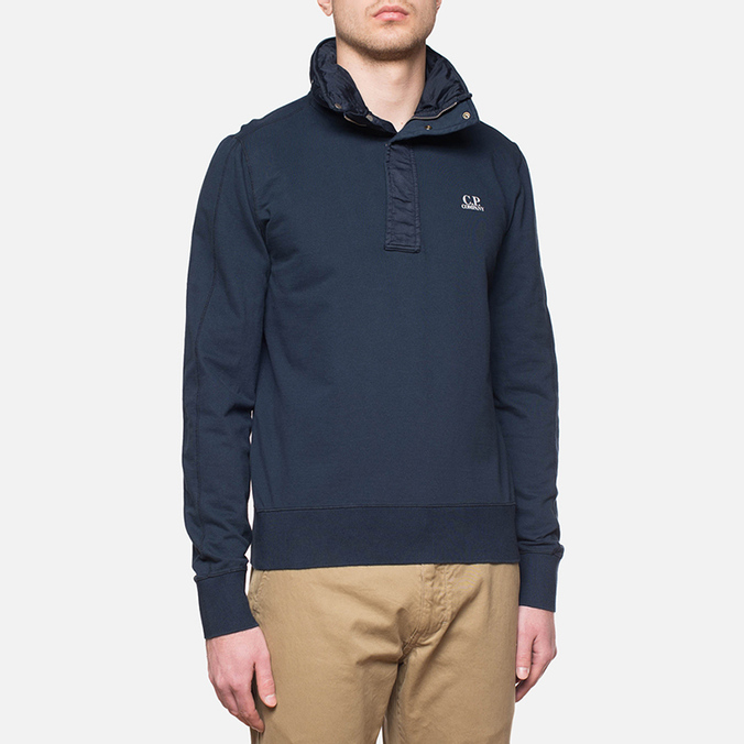 C.P. Company Concealed Half Button Hoody Navy
