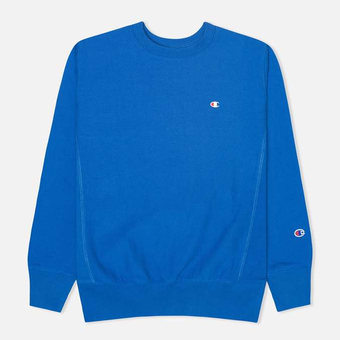 Champion Reverse Weave Basic Crew Neck Men`s Sweatshirt Blue