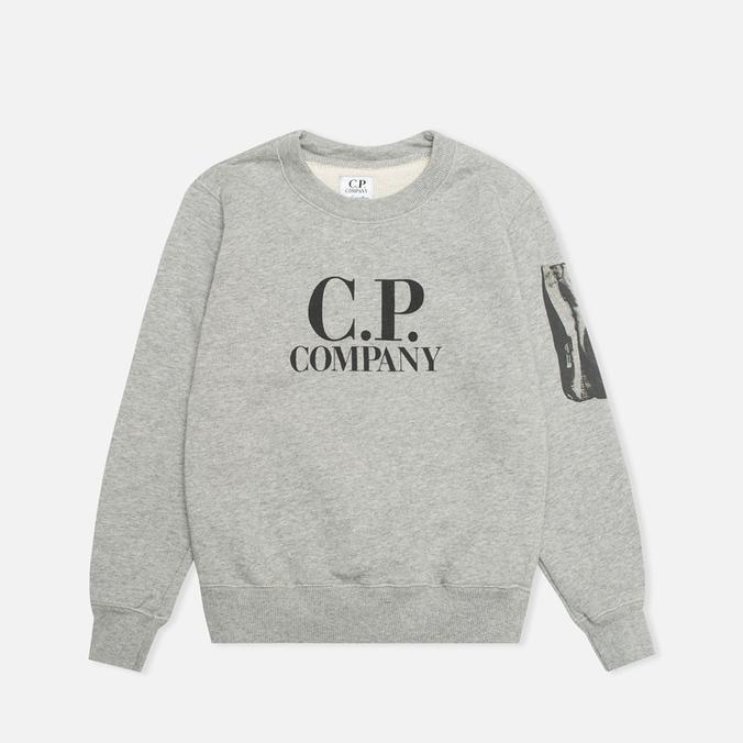 Детская толстовка C.P. Company U16 Crew Neck Arm Lens Print Grey