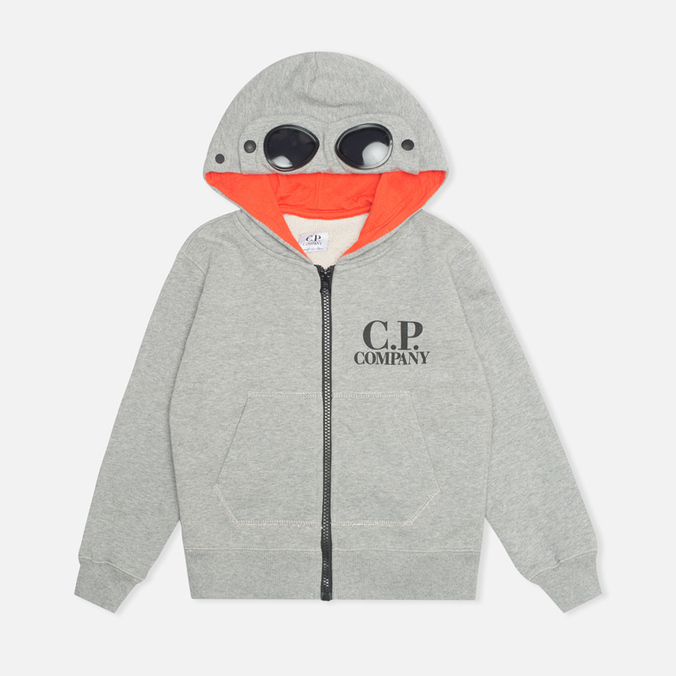 C.P. Company U16 Zip Hooded Goggle Children's Sweatshirt Grey