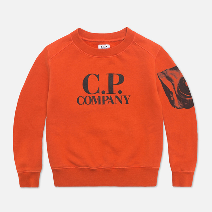 C.P. Company U16 Fleece Crewneck Children's Sweatshirt Orange