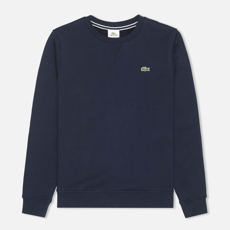 Мужская толстовка Lacoste Sport Crew Neck Solid Fleece Navy Blue
