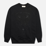 Мужская толстовка Maison Kitsune Crew Neck 3D Fox Embroidery Black фото- 0