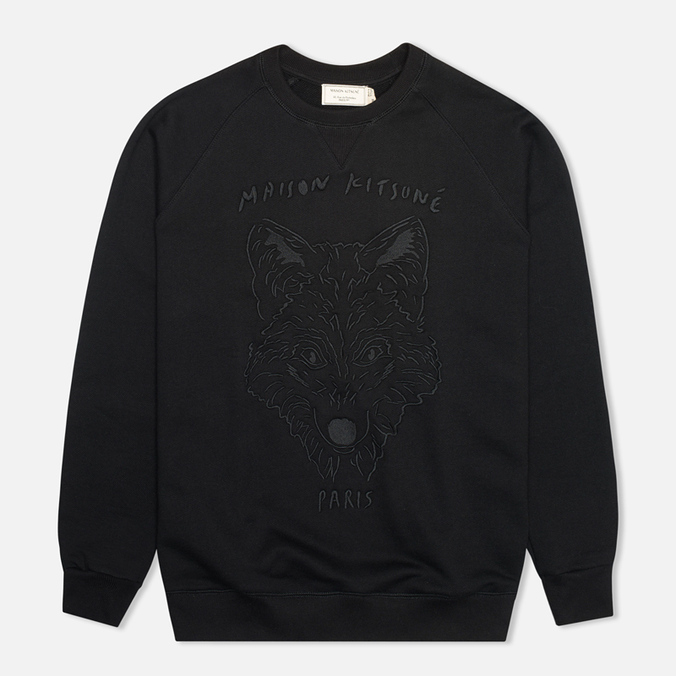 Мужская толстовка Maison Kitsune Crew Neck 3D Fox Embroidery Black