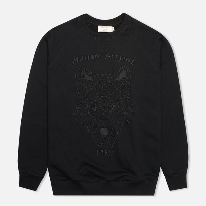 Maison Kitsune Crew Neck 3D Fox Embroidery Men`s Sweatshirt Black