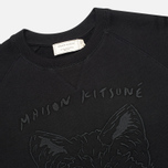 Мужская толстовка Maison Kitsune Crew Neck 3D Fox Embroidery Black фото- 1