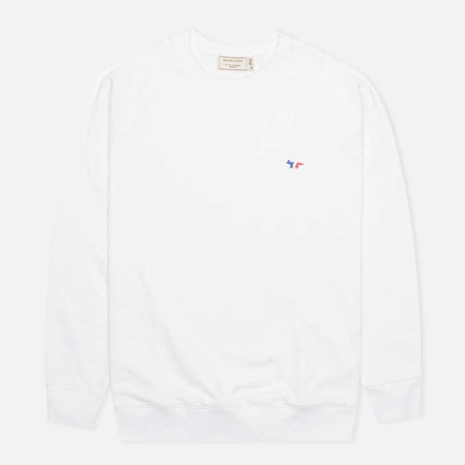 Мужская толстовка Maison Kitsune Crew Neck Tricolor Fox Chest Patch White