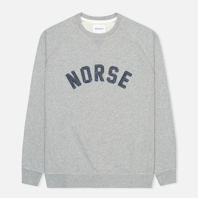 Мужская толстовка Norse Projects Ketel Logo Solid Brushed Light Grey Melange