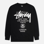 Мужская толстовка Stussy World Tour Crew Neck Black фото- 0
