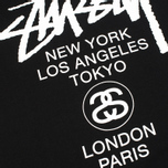 Мужская толстовка Stussy World Tour Crew Neck Black фото- 2