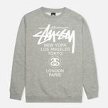 Мужская толстовка Stussy World Tour Crew Neck Grey Heather фото- 0