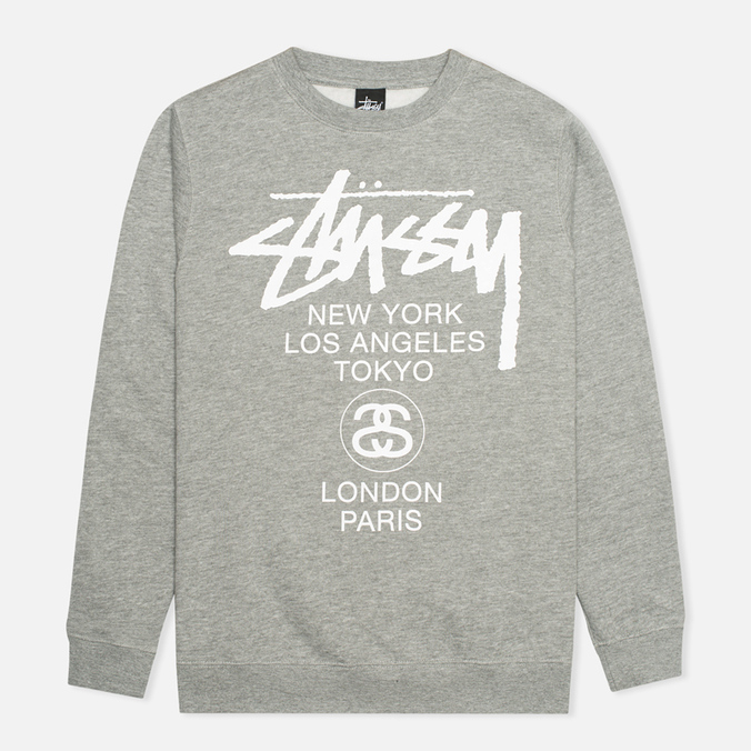 Мужская толстовка Stussy World Tour Crew Neck Grey Heather