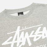 Мужская толстовка Stussy World Tour Crew Neck Grey Heather фото- 1