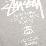 Мужская толстовка Stussy World Tour Crew Neck Grey Heather фото- 2