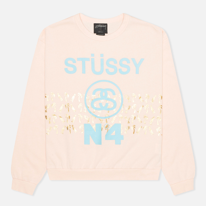 Stussy Palm Band Crew Neck Women's Sweatshirt Pink