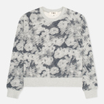 Женская толстовка YMC Pixelated Floral Crew Neck Grey/Navy фото- 0