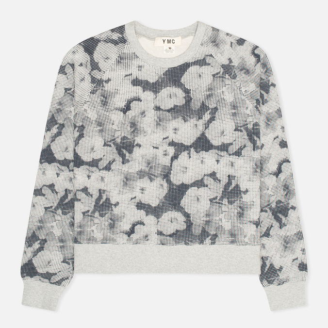 Женская толстовка YMC Pixelated Floral Crew Neck Grey/Navy