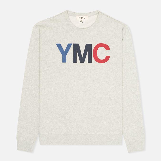 Мужская толстовка YMC Logo Print Crew Neck Grey
