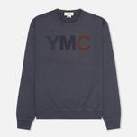 Мужская толстовка YMC Logo Print Crew Neck Navy фото- 0