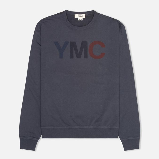 Мужская толстовка YMC Logo Print Crew Neck Navy