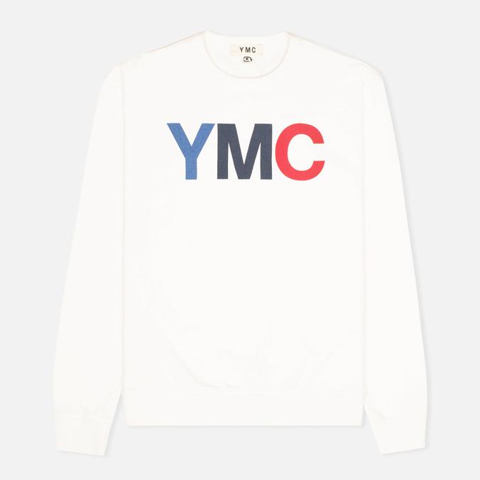 Мужская толстовка YMC Logo Print Crew Neck White