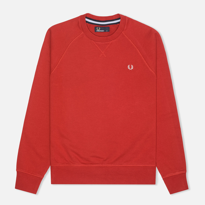 Fred Perry Loopback Crew Neck Men`s Sweatshirt Wallace Red