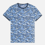 Мужская футболка Barbour x White Mountaineering Wave Tee Blue фото- 0