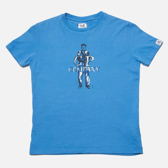 Детская футболка C.P. Company U16 Logo Print Blue