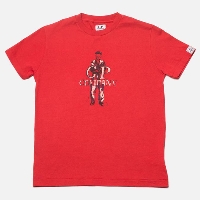 Детская футболка C.P. Company U16 Logo Print Red