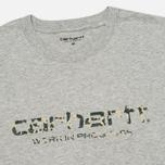 Мужская футболка Carhartt WIP Stain Script Grey Heather/Camo Stain Leaf фото- 1