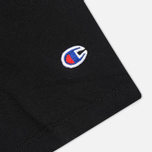 Champion Reverse Weave Crew Neck Patch Logo Men's T-shirt Black photo- 3